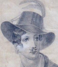 Creutzkamp - Portrait, in a hat with plume